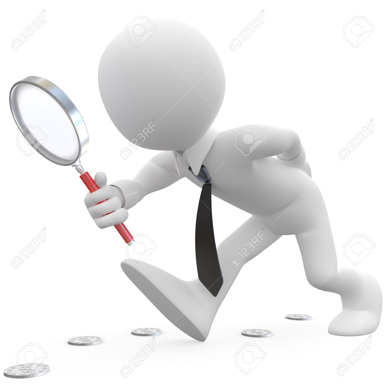 Businessman with magnifying glass looking for coins Stock Photo - 10460044