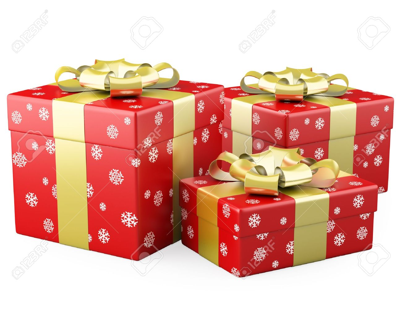 Three Red Christmas Gifts With A Gold Ribbon Stock Photo, Picture ...