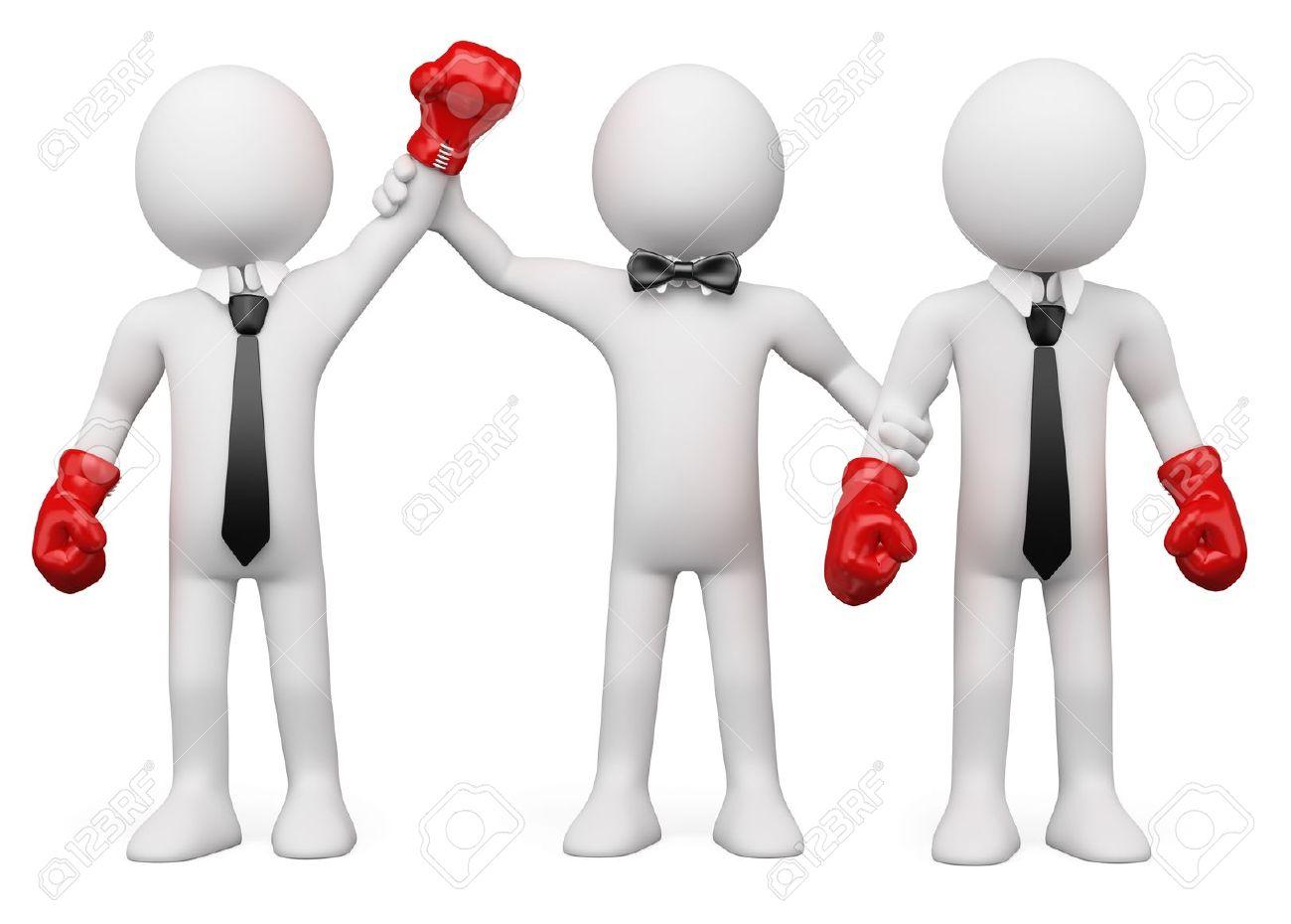 Boxing Referee choosing the winner between two businessmen - 11559802