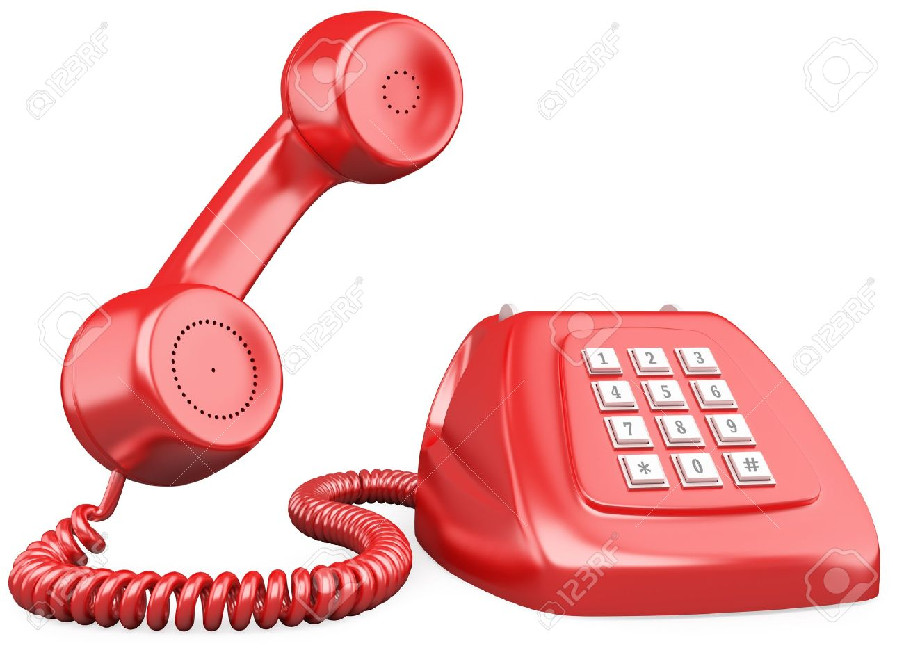 3D red old fashioned style telephone. Rendered at high resolution on a white background with diffuse shadows. Stock Photo - 12164338