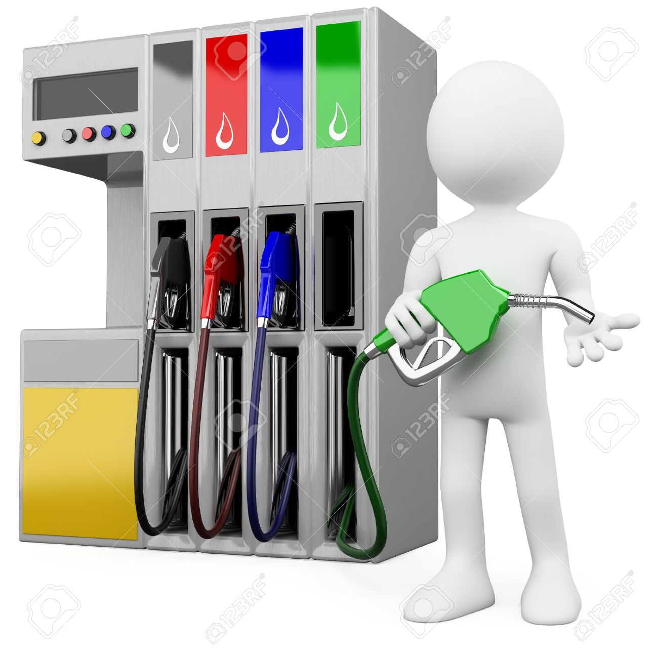 3D worker at a gas station with a petrol pump. Rendered at high resolution on a white background with diffuse shadows. Stock Photo - 12796892