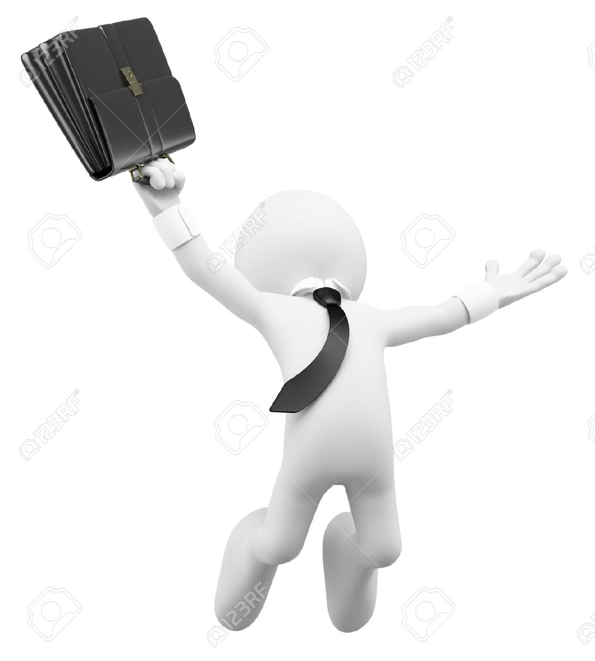 3d white business person happy jumping for the success with a briefcase. 3d image. Isolated white background. Stock Photo - 13784239