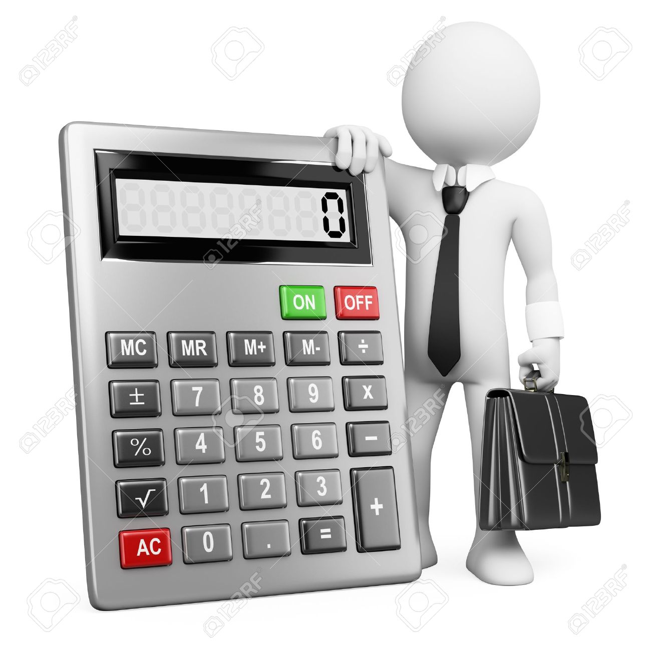 accountant job stock vector illustration and royalty accountant job 3d white business person a calculator and a briefcase 3d image