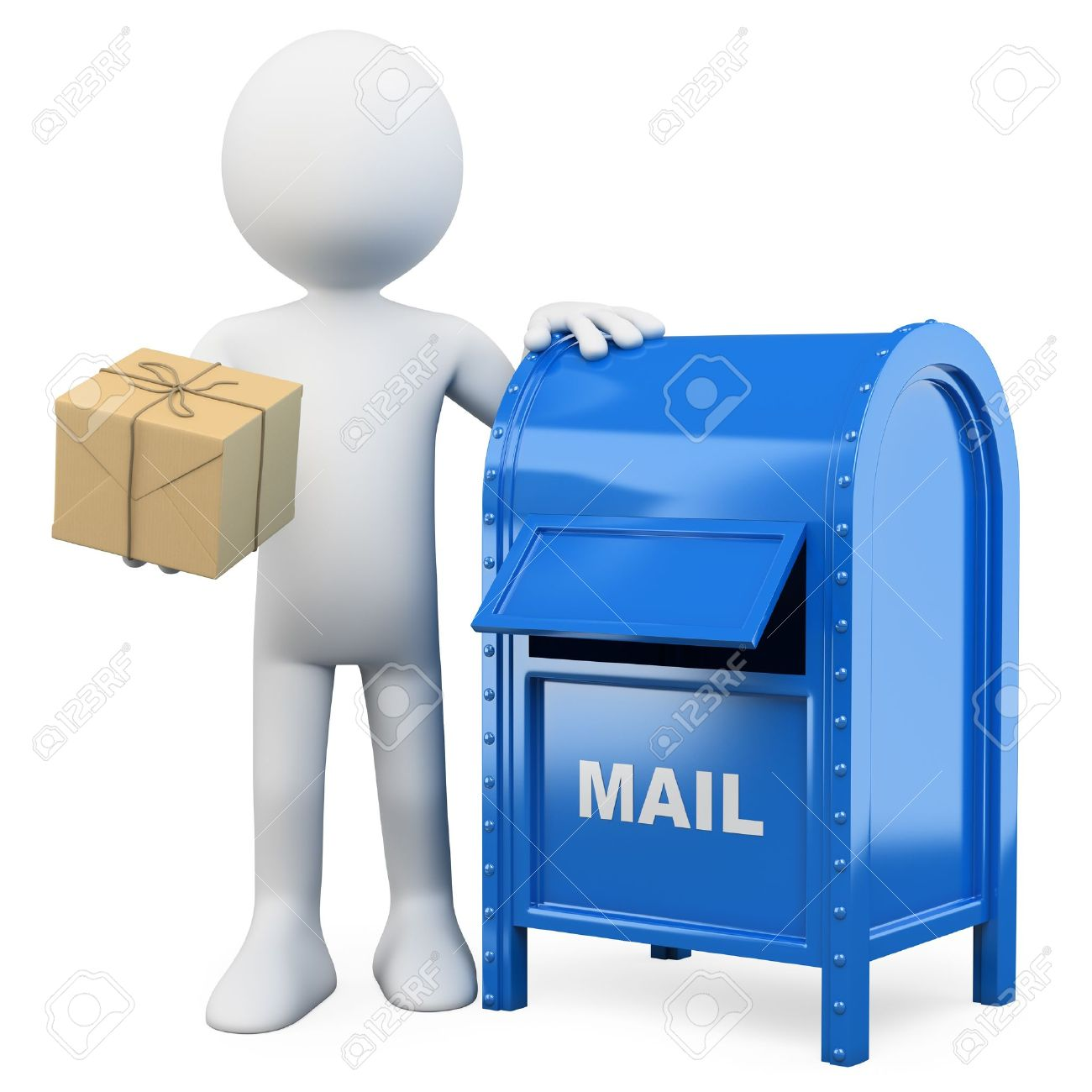 3d white person sending a package in a mail box. 3d image. Isolated white background. Stock Photo - 13784241