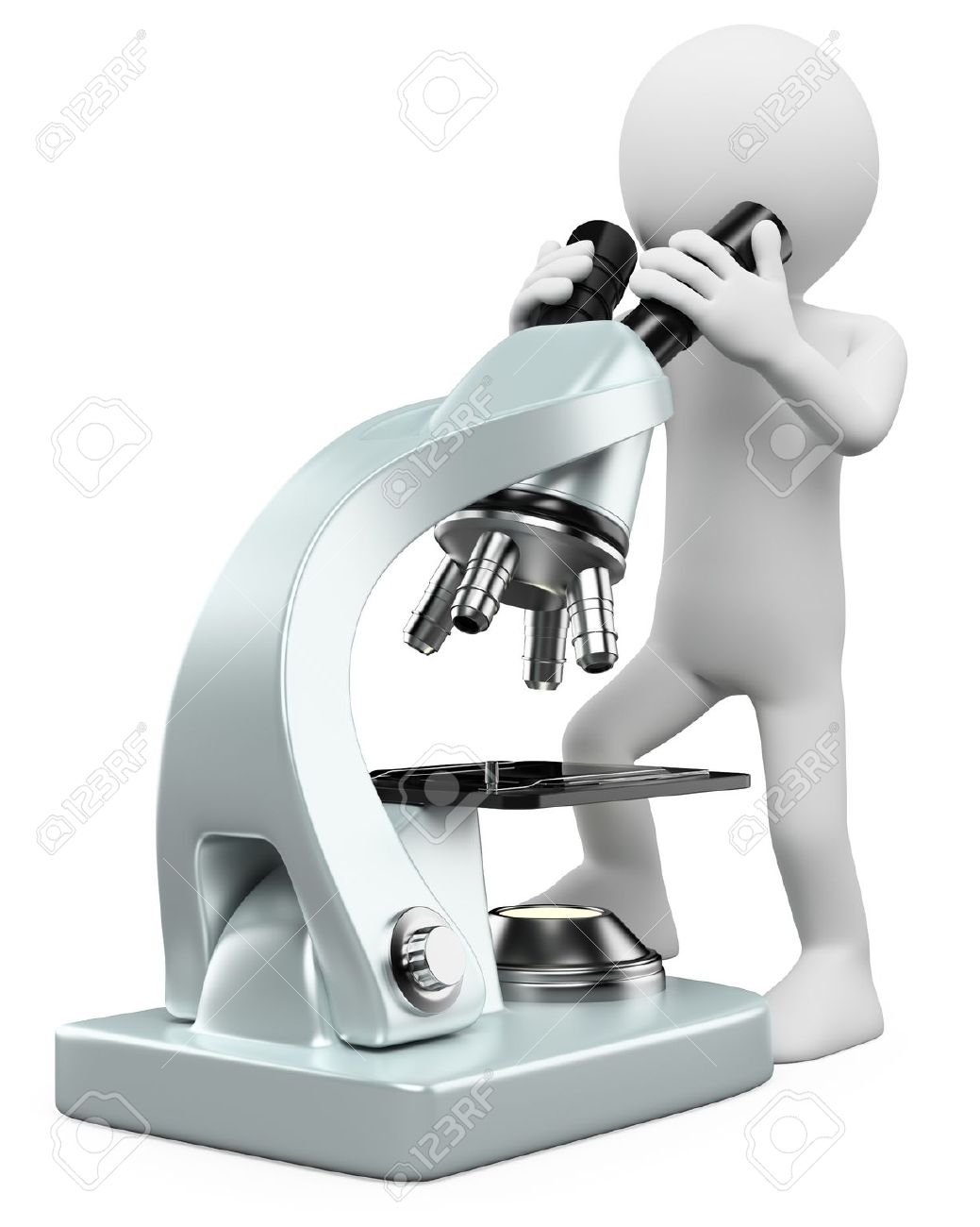 3d white person looking through a microscope. 3d image. Isolated white background. Stock Photo - 13933315