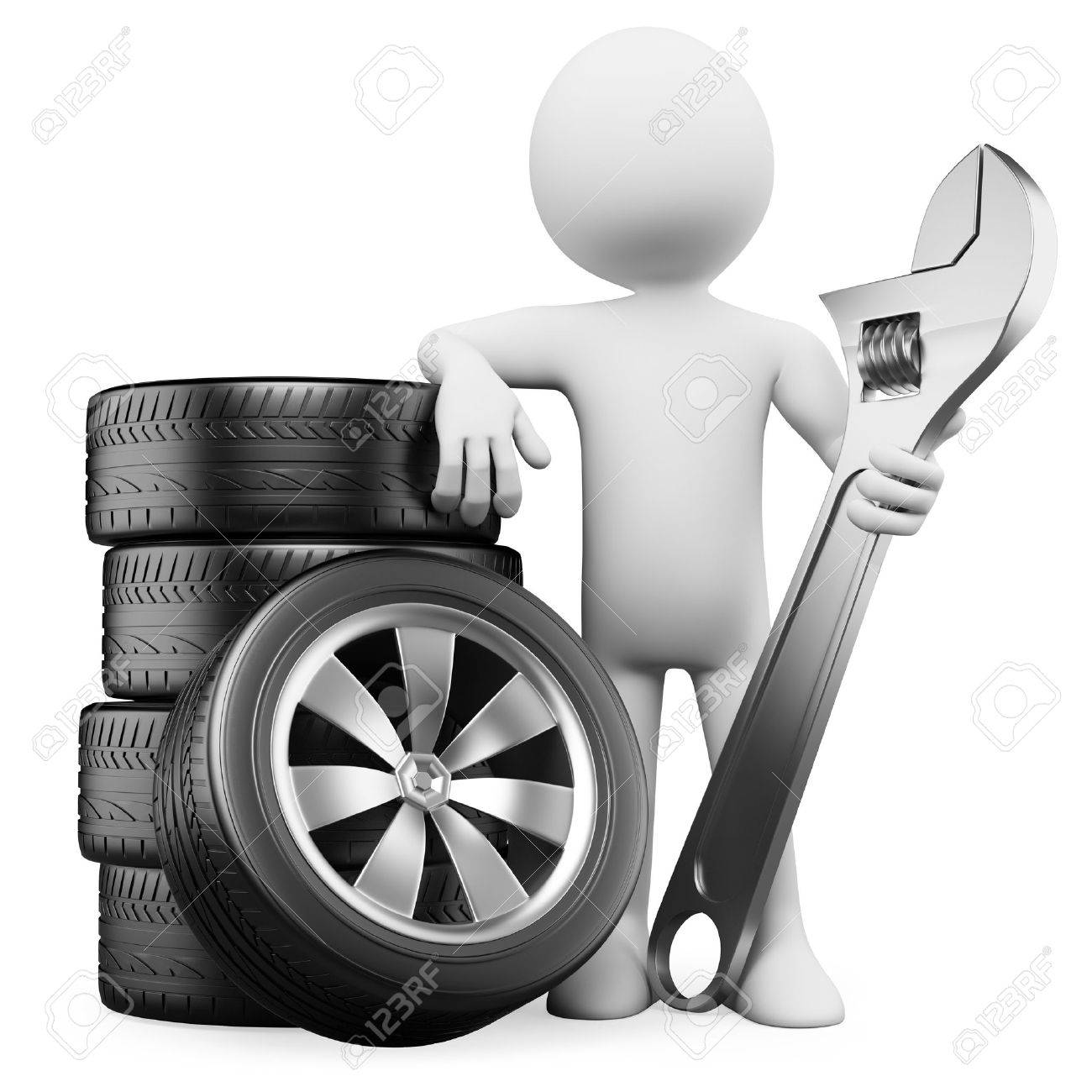 3d white person with tires and a wrench. 3d image. Isolated white background. Stock Photo - 14017937