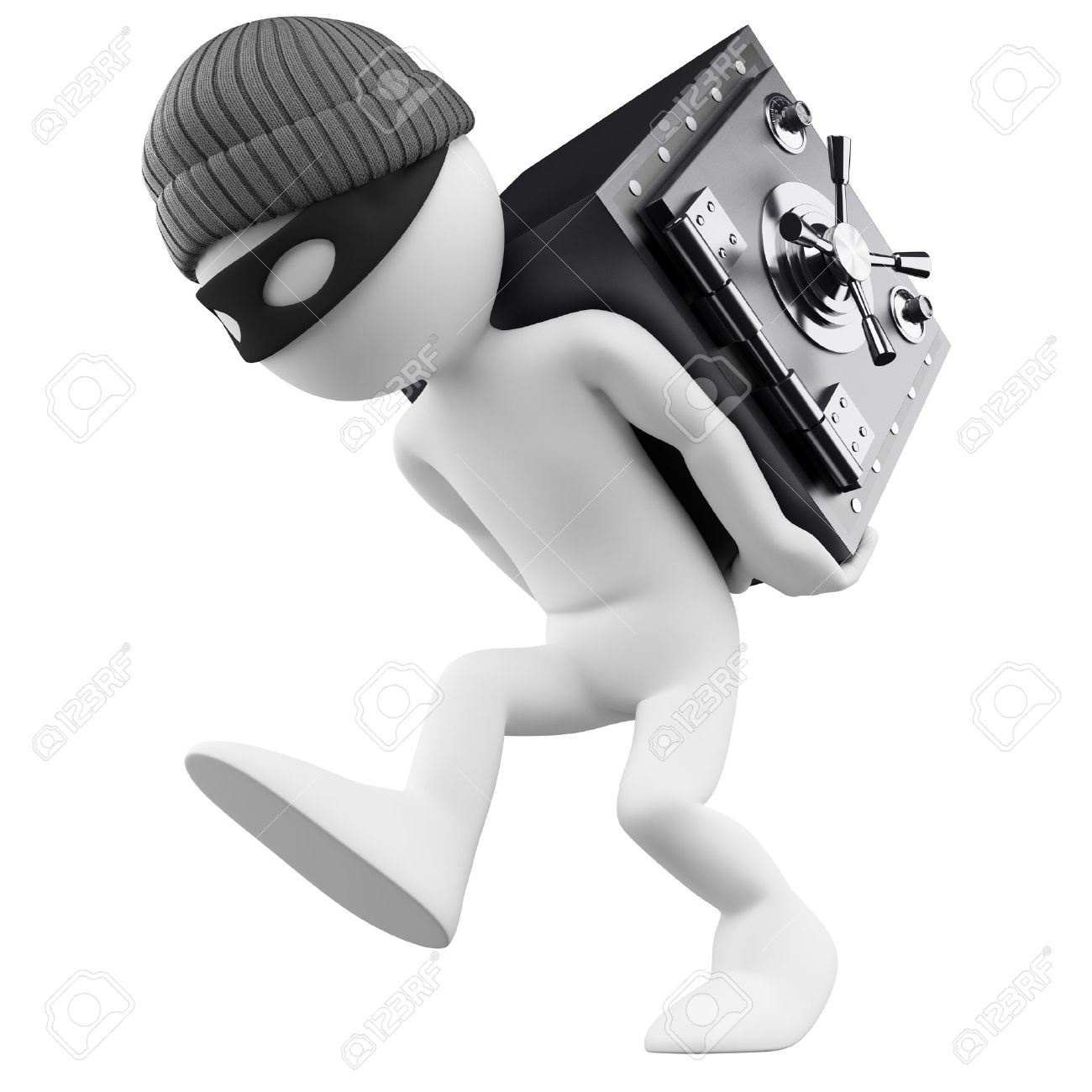3d white person  Bank robber with a safe on his back  3d image  Isolated white background Stock Photo - 14308780