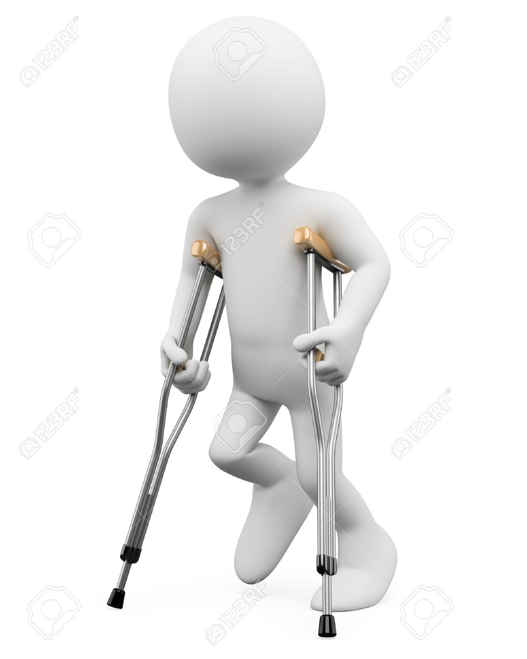 3d white person on crutches. 3d image. Isolated white background. Stock Photo - 14403226