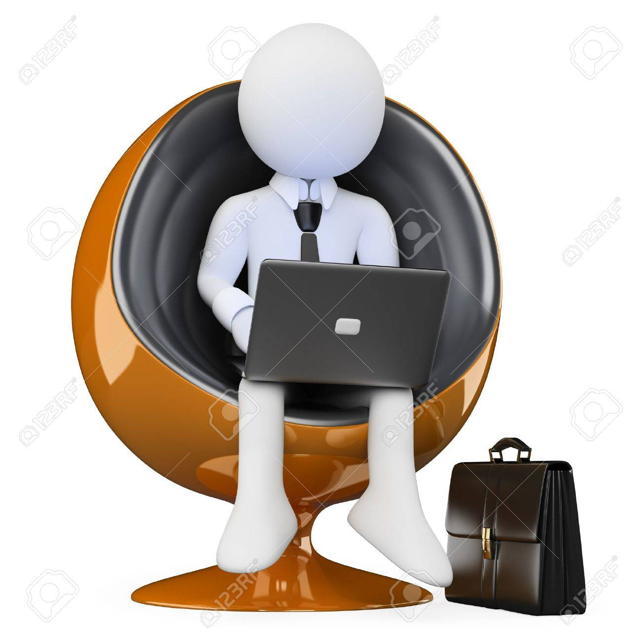 3d white person sitting in a modern chair with a notebook. 3d image. Isolated white background. Stock Photo - 14403232