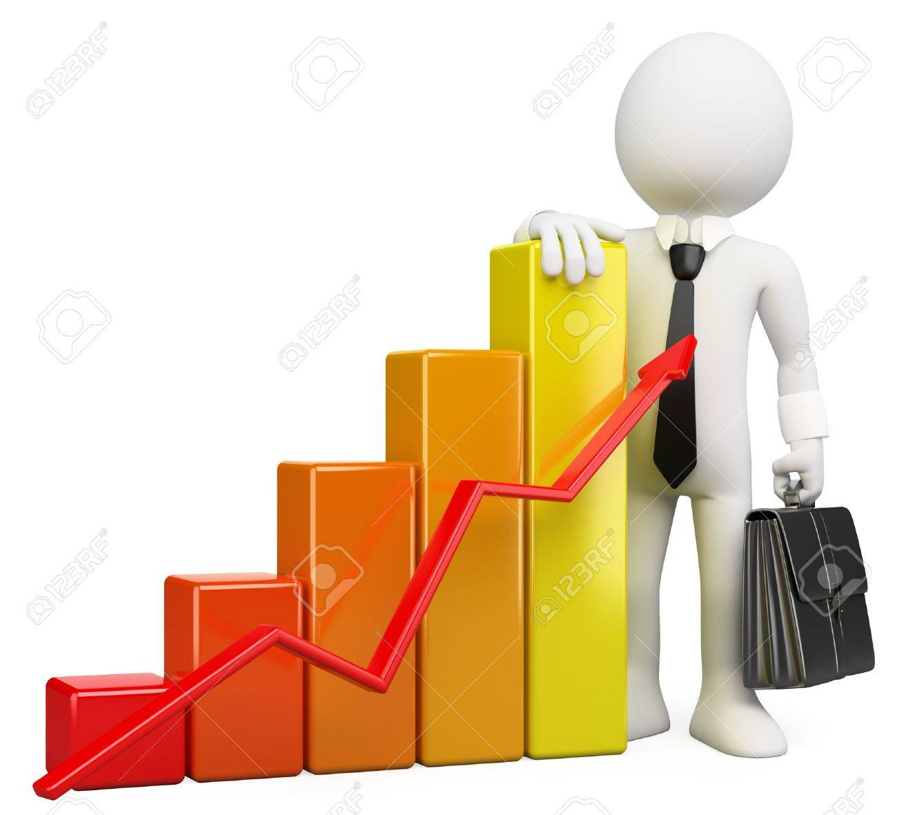 3d white business person with a growing bar graph. 3d image. Isolated white background. Stock Photo - 14703592