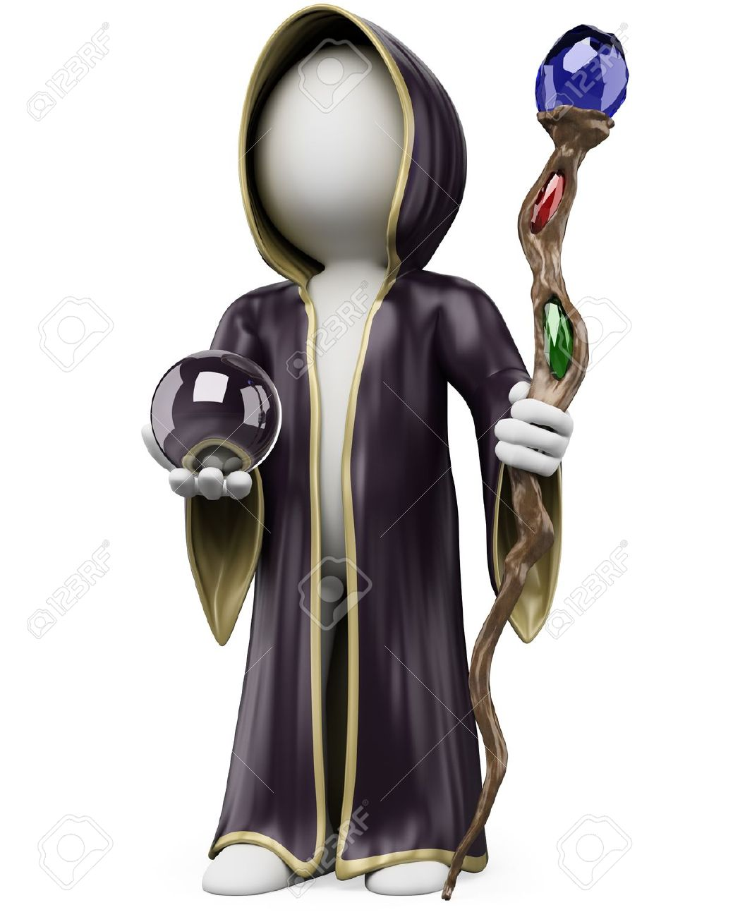 3d White Person With A Witch Costume Staff And Crystal Ball On ...