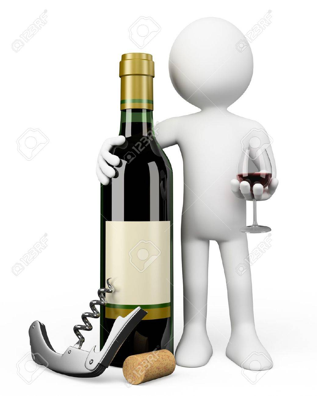 3d white person Sommelier with a bottle of red wine a corkscrew and a glass Stock Photo - 15235042