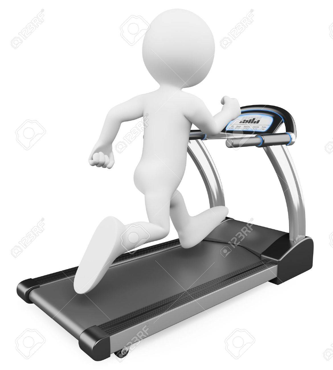 3d white person running on a treadmill. 3d image. Isolated white background. Stock Photo - 15783492