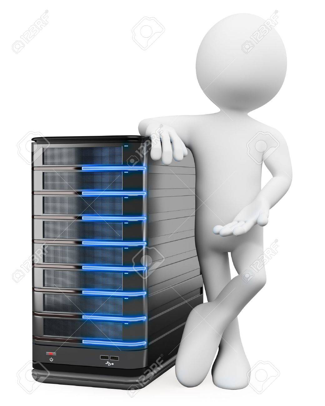 3d white person with a storage web server . 3d image. Isolated white background. Stock Photo - 15783497