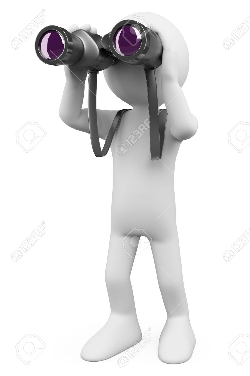 3d white person looking through a binoculars looking for something. 3d image. Isolated white background. - 16493085