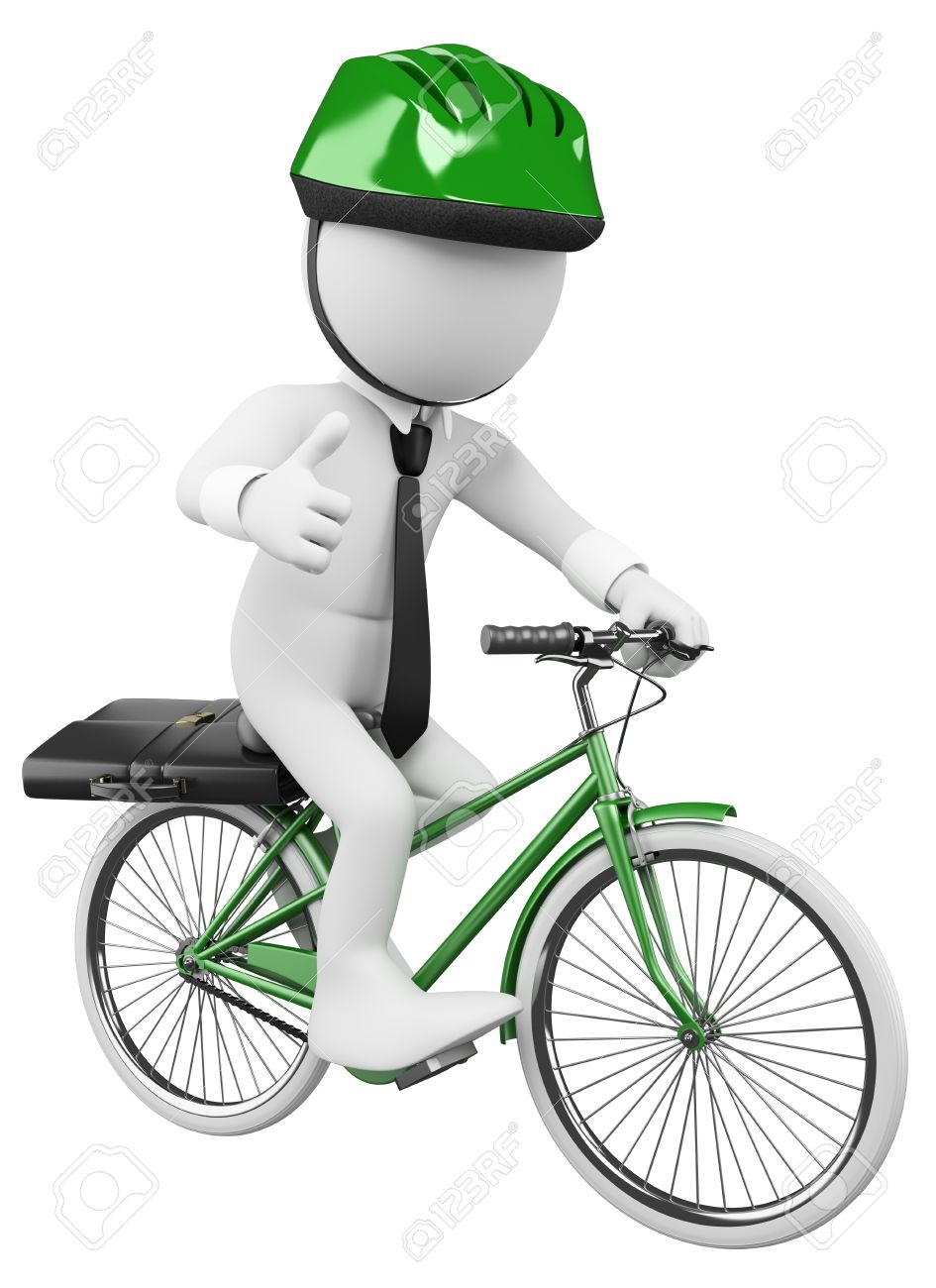 3d white business person going to work in a green bicycle with safety helmet. 3d image. Isolated white background. Stock Photo - 16493087