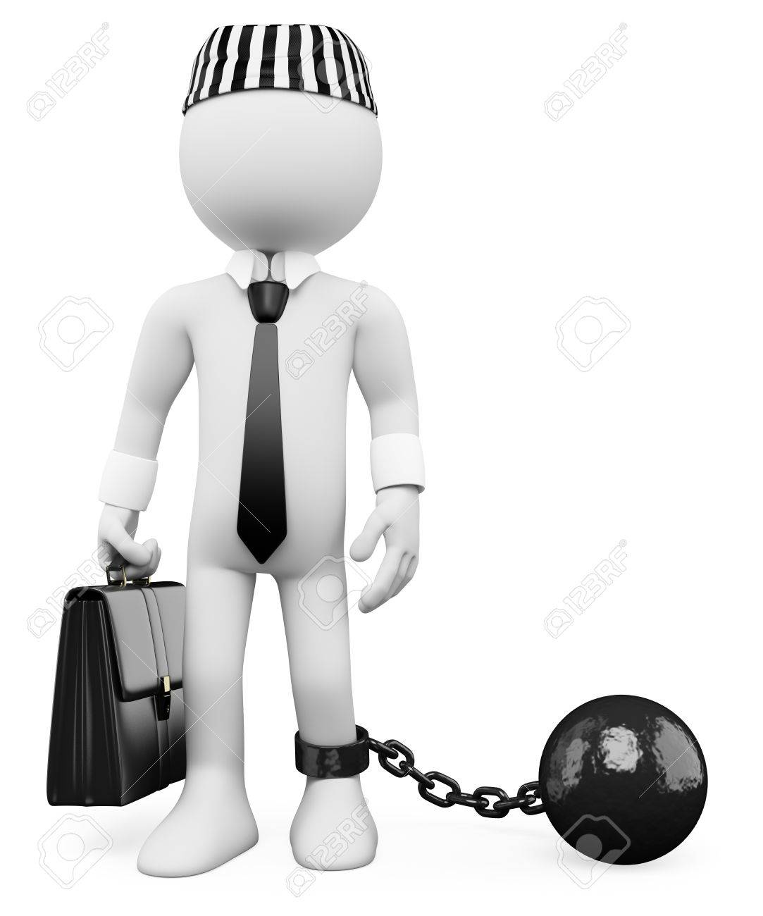 3d white corrupt politician dragging a metal ball. 3d image. Isolated white background. Stock Photo - 17852473