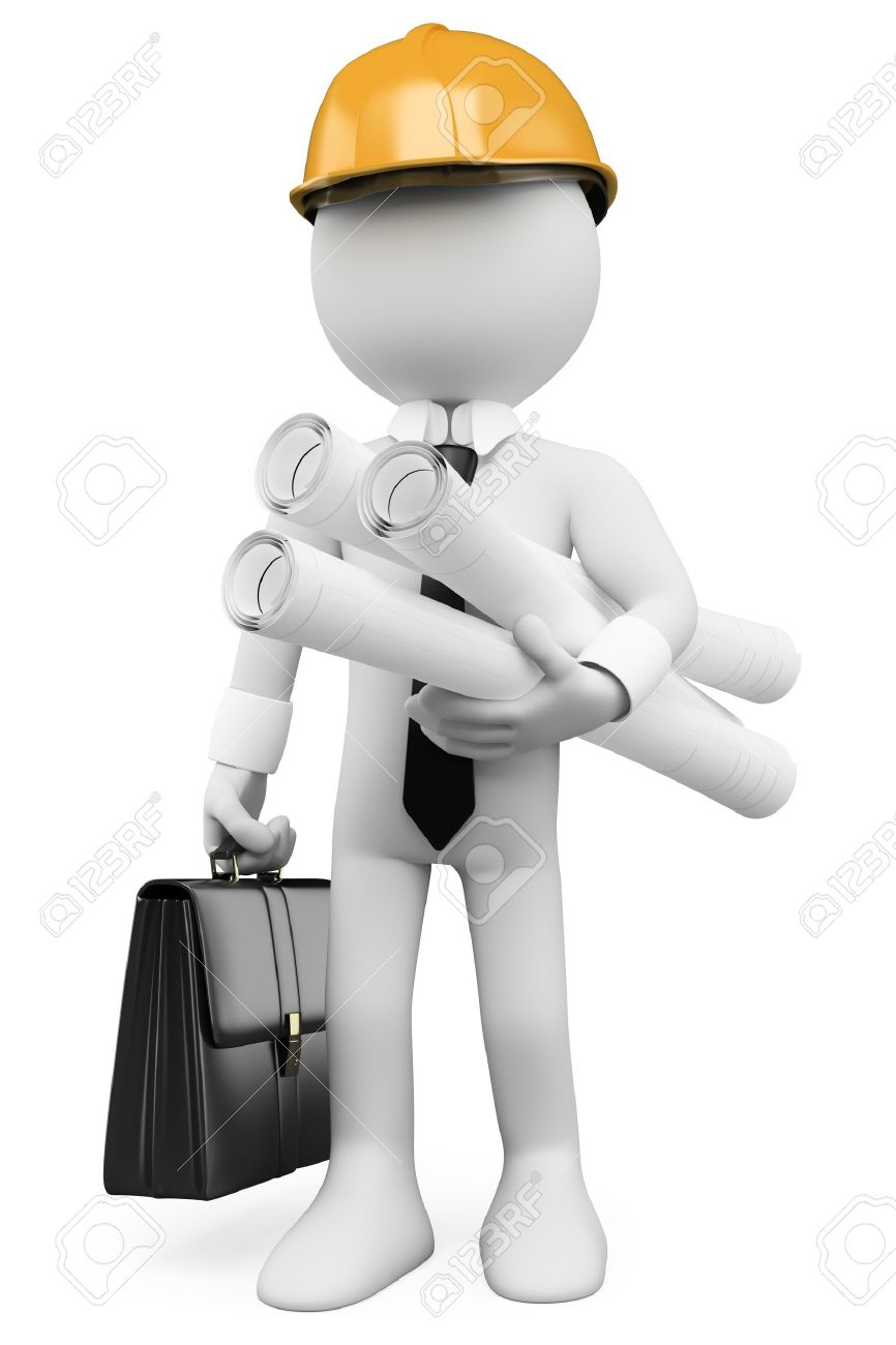 3d white architect with plans hard helmet and briefcase 3d image isolated white background