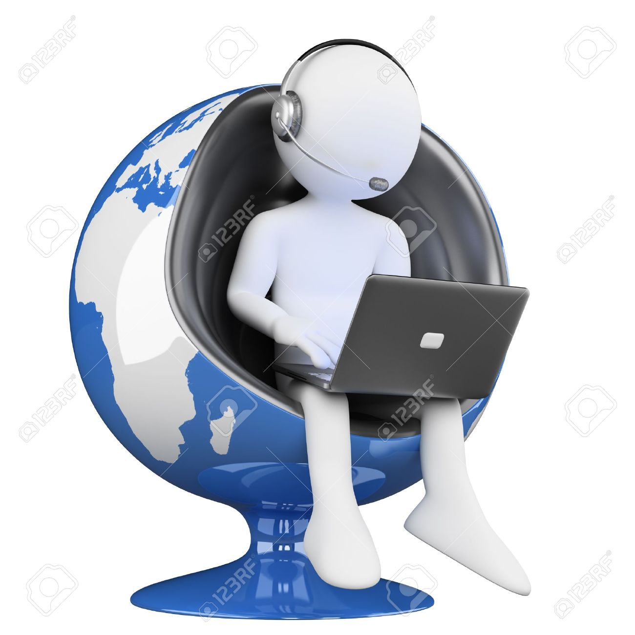 3d white person. Globalization of teleoperators services. 3d image. Isolated white background. Stock Photo - 18312137