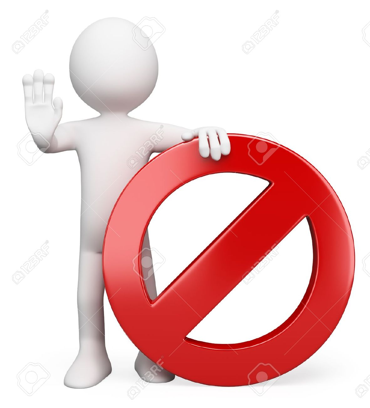 3d white person with a forbidden sign ordering to stop. 3d image. Isolated white background. Stock Photo - 18629626