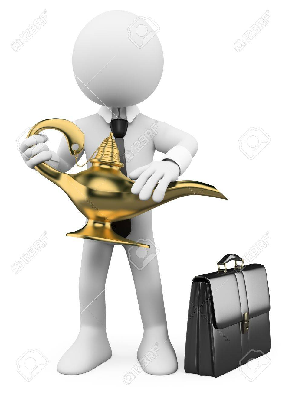 3d white business person rubbing a magic lamp. 3d image. Isolated white background. Stock Photo - 18728601