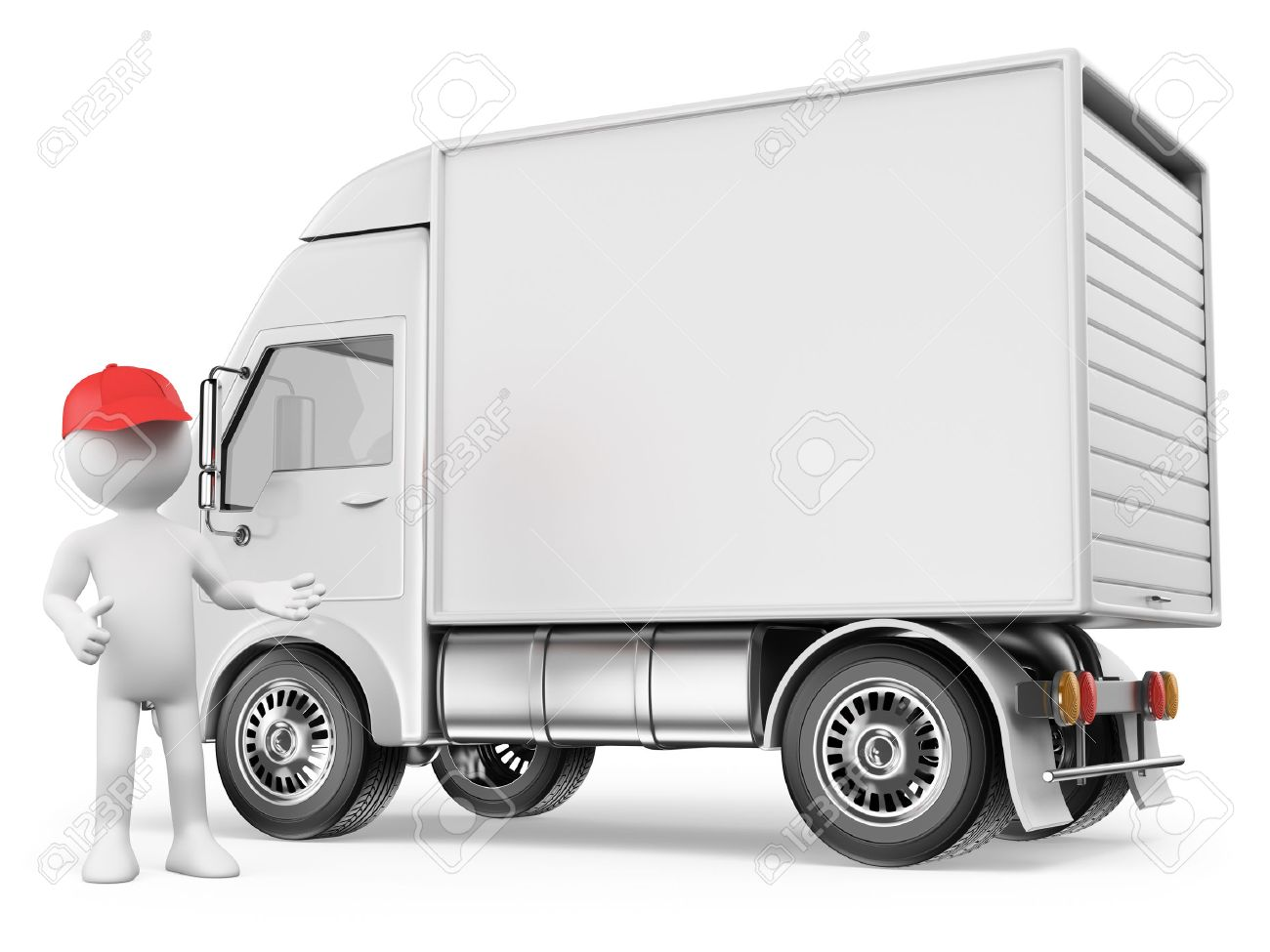 3d white people. White delivery truck with blank sides ready for custom text Stock Photo - 26043329