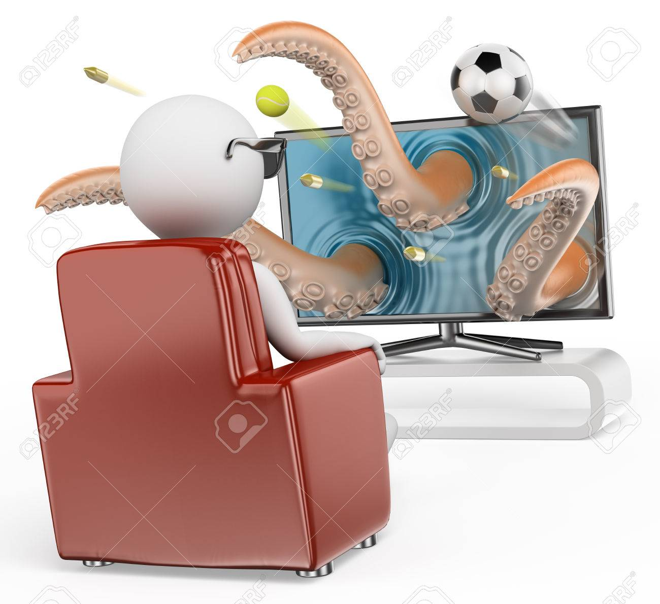 3d white people. Man sitting on a sofa watching a 3D TV. Sports movies. Isolated white background. Stock Photo - 28470652