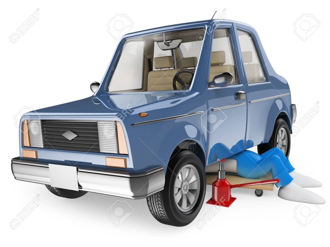 3d white people. Mechanic repairing a car. Isolated white background. Stock Photo - 28470653