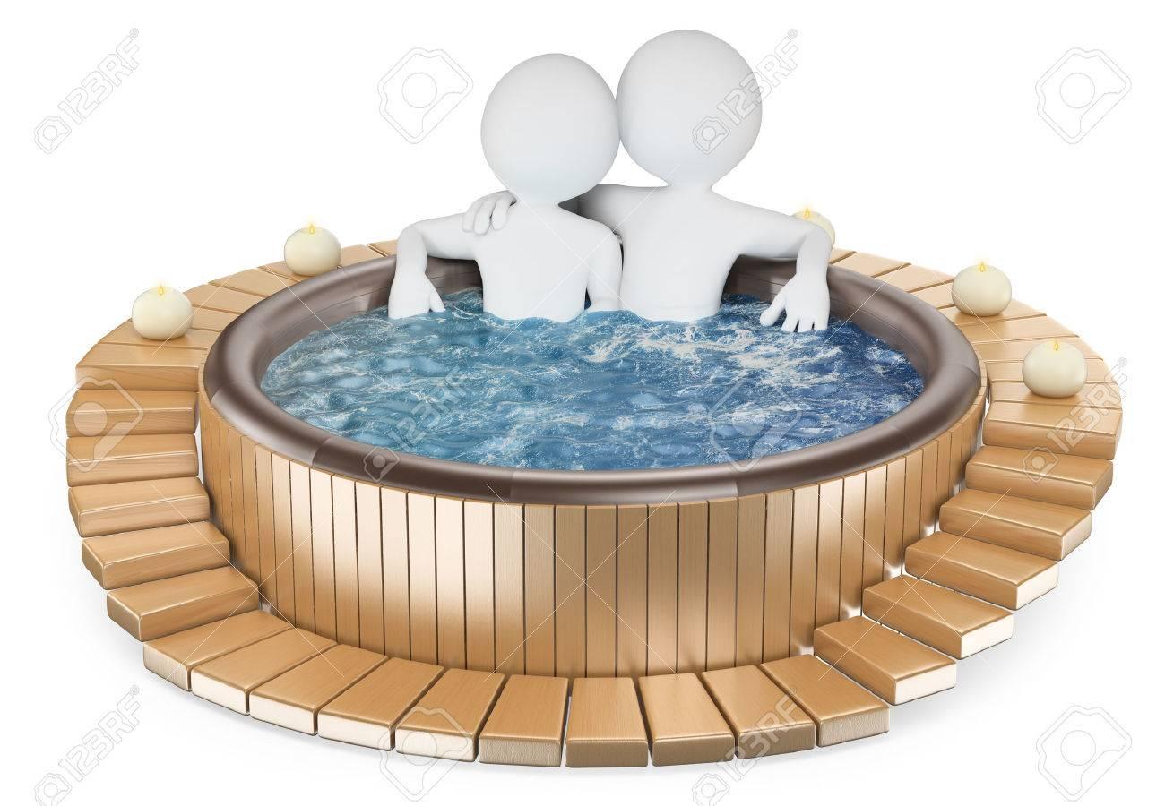 pareja de relax en un jacuzzi de madera con velas fondo