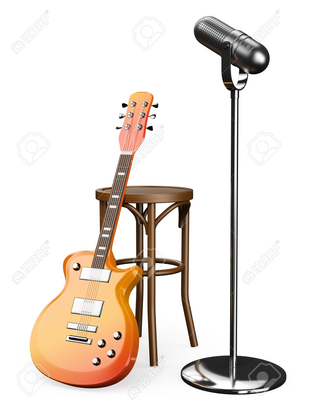 3D Electric guitar stool and microphone. Isolated white background. Stock Photo - 31168253  sc 1 st  123RF Stock Photos & 3D Electric Guitar Stool And Microphone. Isolated White Background ... islam-shia.org
