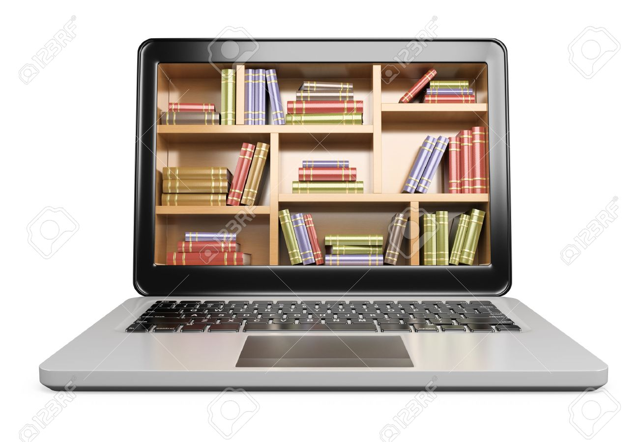 http://previews.123rf.com/images/texelart/texelart1409/texelart140900016/31798203-3D-Laptop-Digital-Library-concept-Isolated-white-background--Stock-Photo.jpg