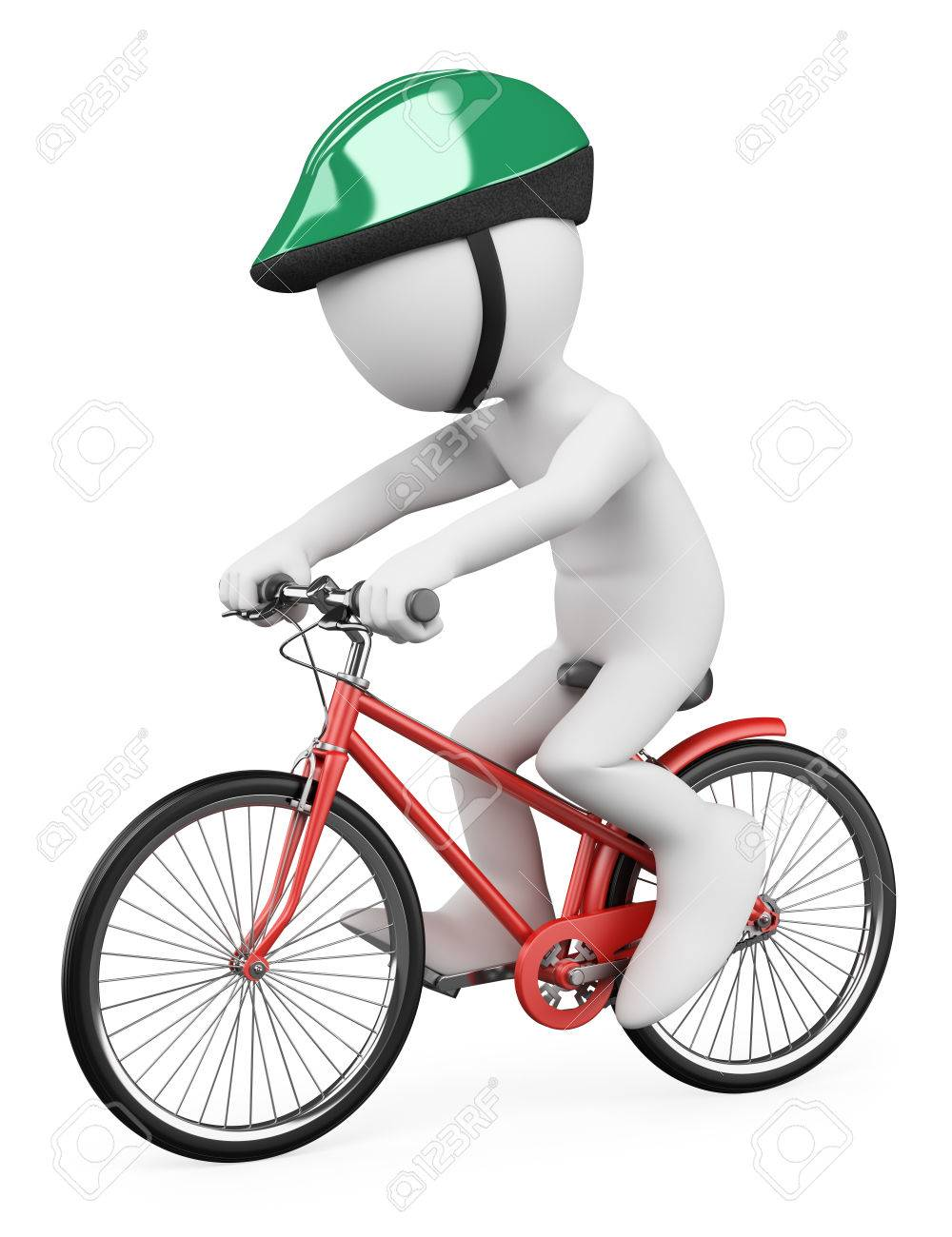 3d white people  Man riding a red bicycle with a green helmet