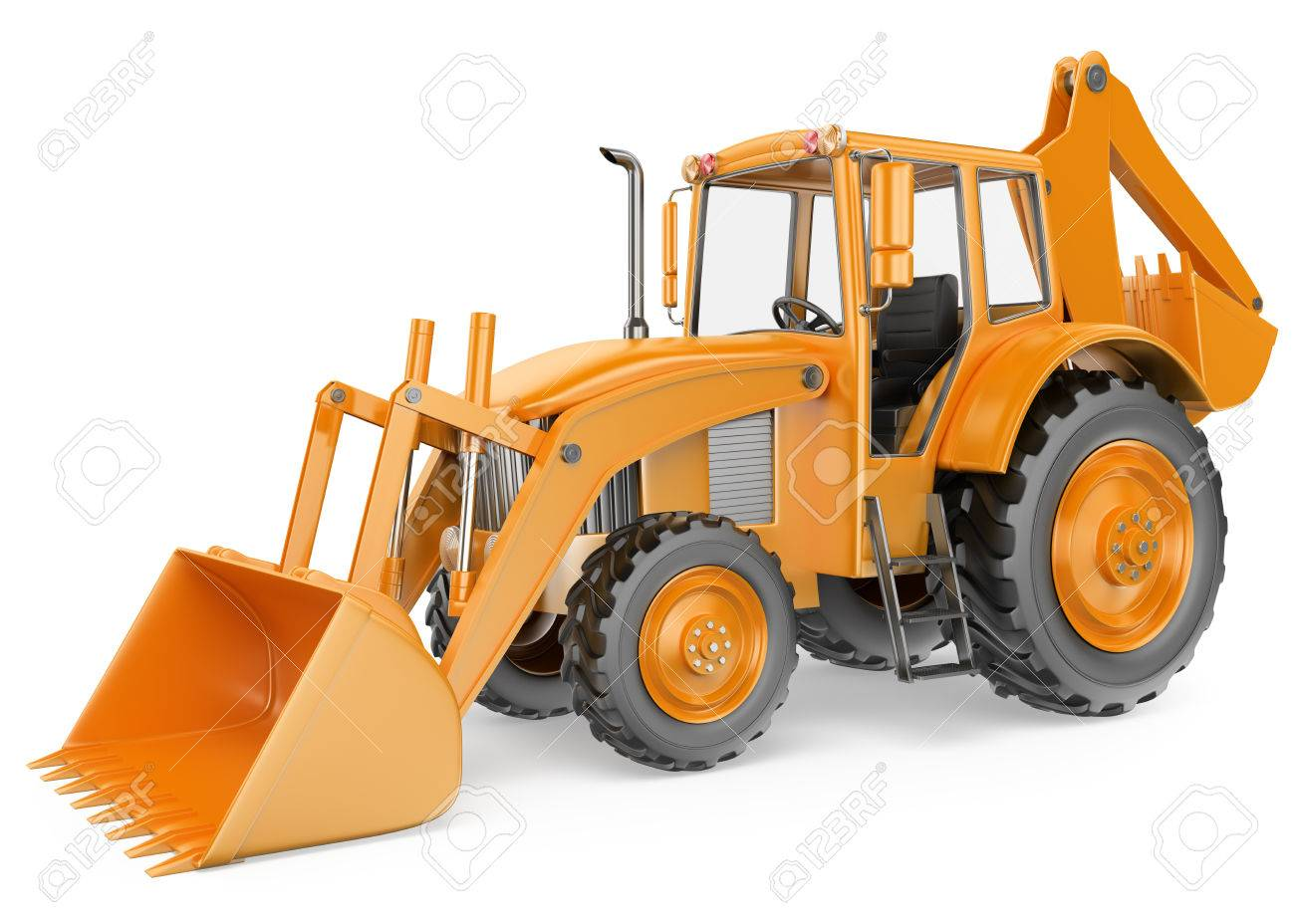 3d backhoe loader digger isolated white background stock photo 39265119