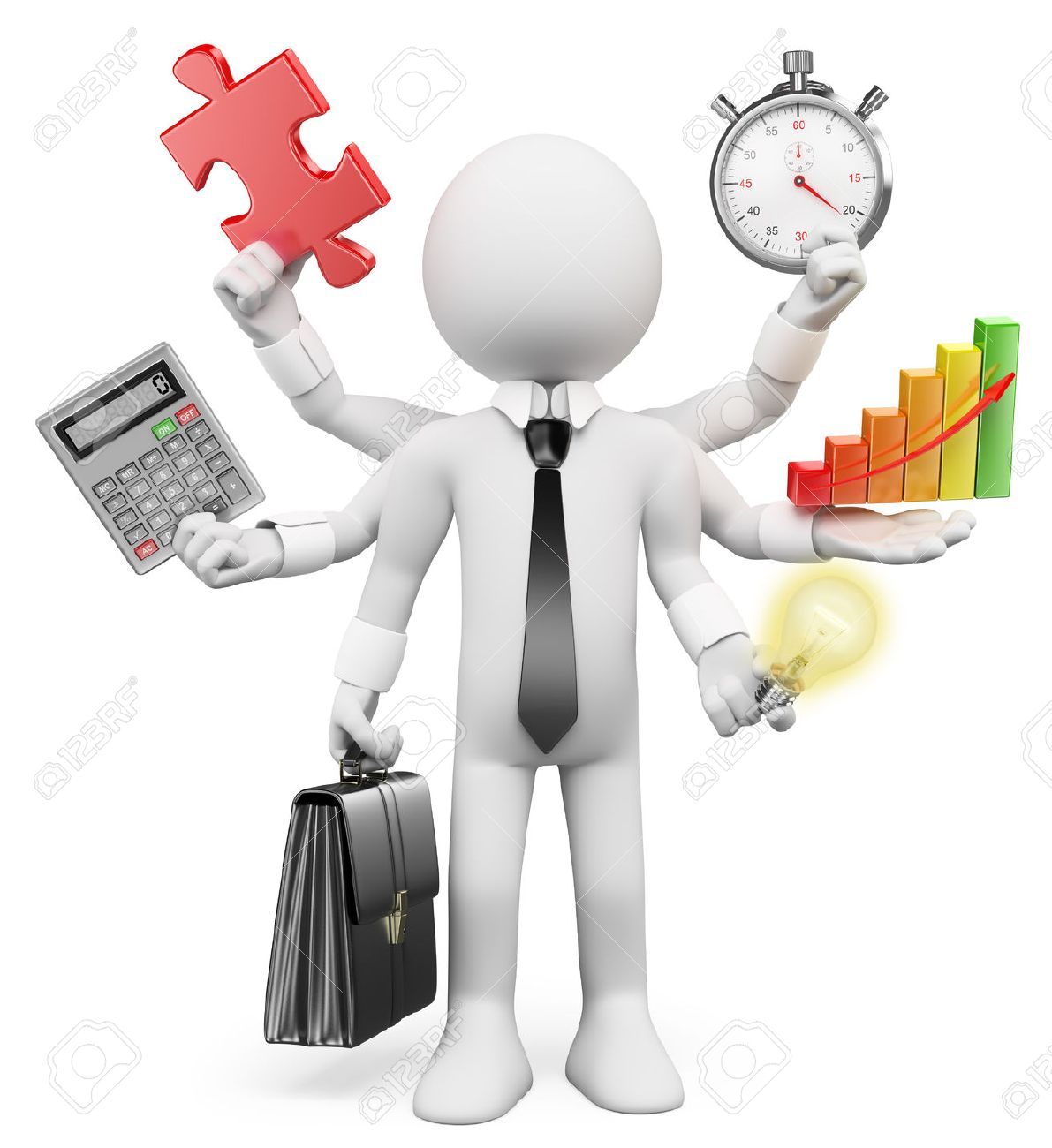 3d white people. Multitasking businessman with puzzle piece calculator graphic stopwatch bulb. Isolated white background. - 41292889