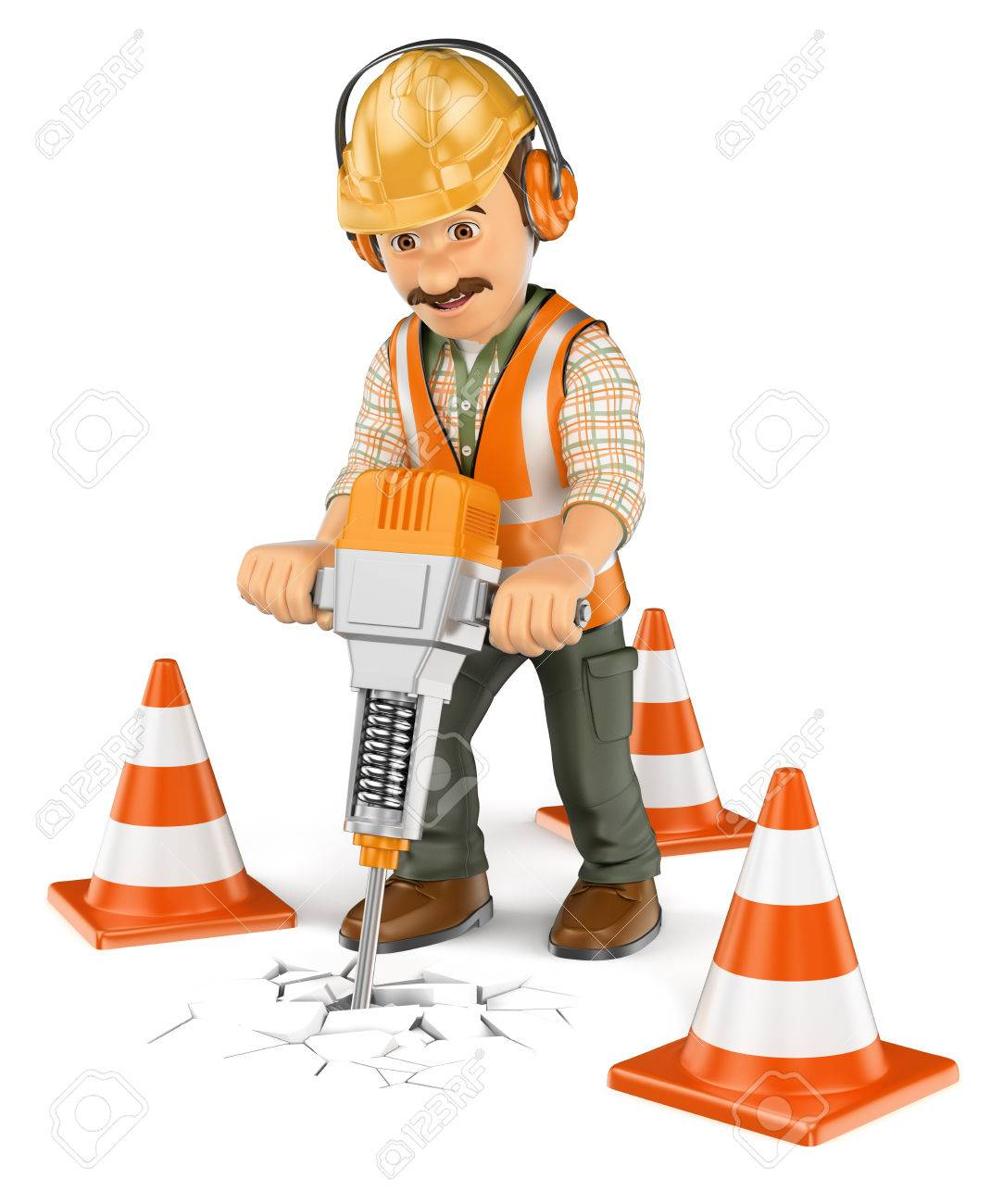 construction worker stock vector illustration and royalty construction worker 3d working people construction worker a handheld hydraulic breaker isolated