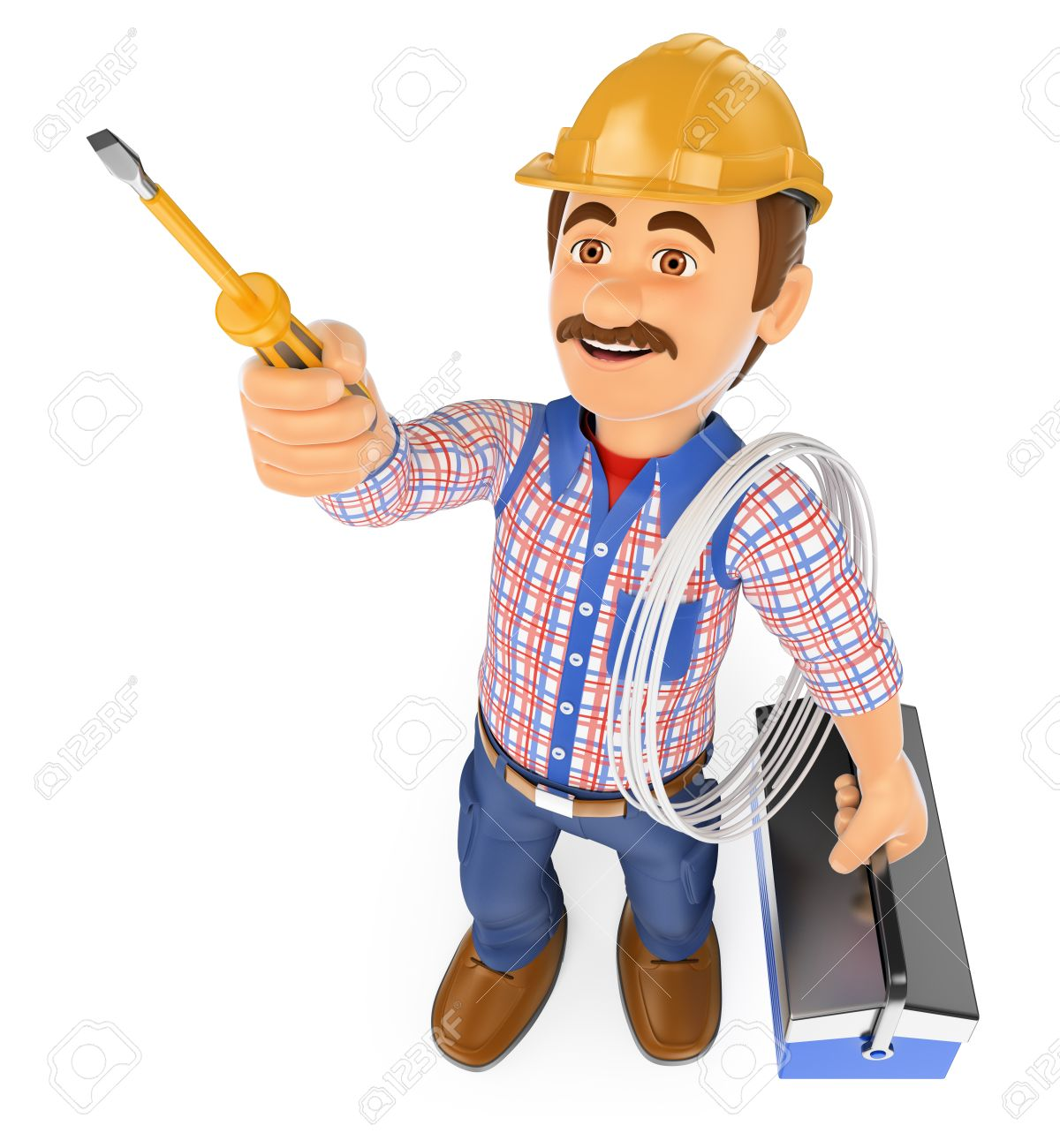 3d working people. Electrician with a screwdriver and toolbox. Isolated white background. - 50363455