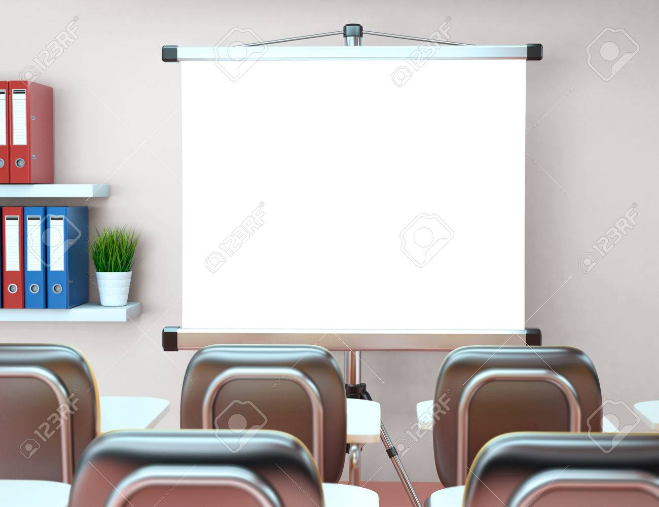 3D Illustration Workshop With Blank Projector Screen. Office ...