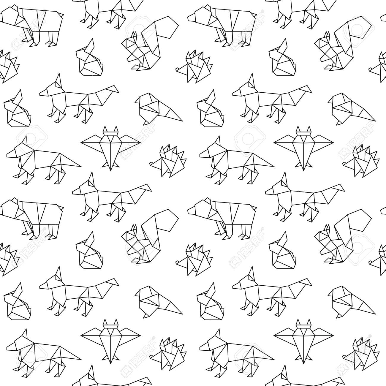Seamless pattern of forest animal in origami style. Bear, rabbit ... | 1300x1300