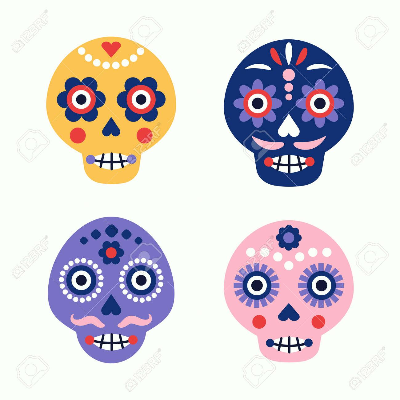 Colorful skull vector set. Day of the dead elements. Dia de los muertos holiday decoration. - 157943690