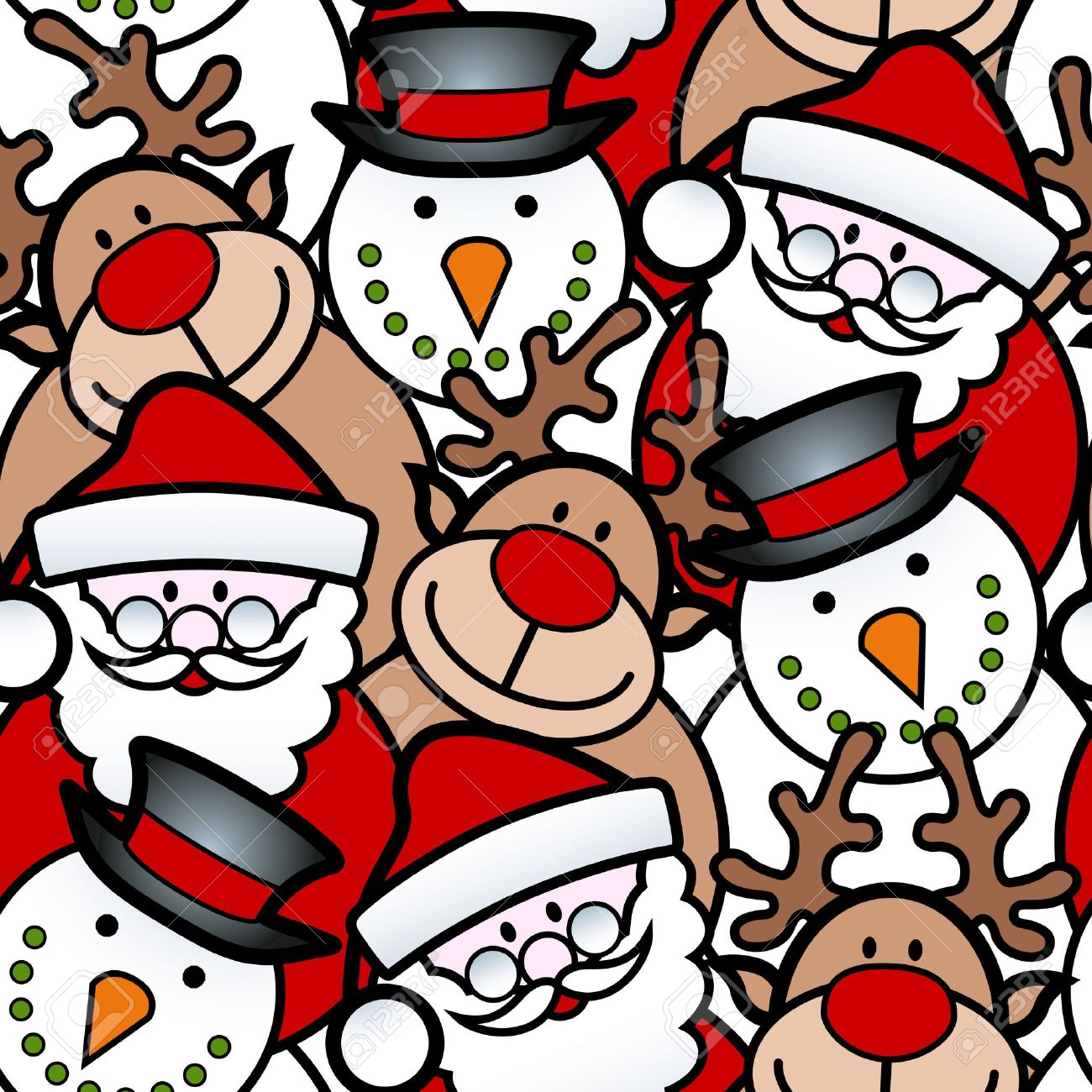 seamless background pattern of christmas santa reindeer and