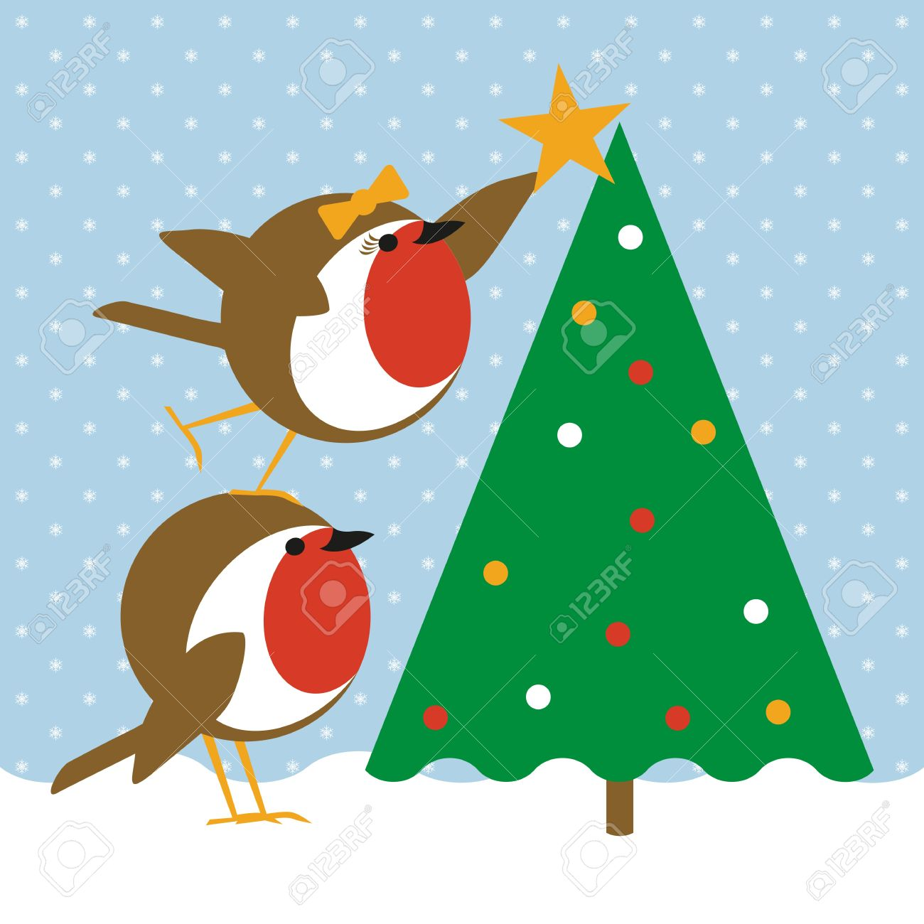 Humorous Christmas Card With Cute Robins Placing A Star On A