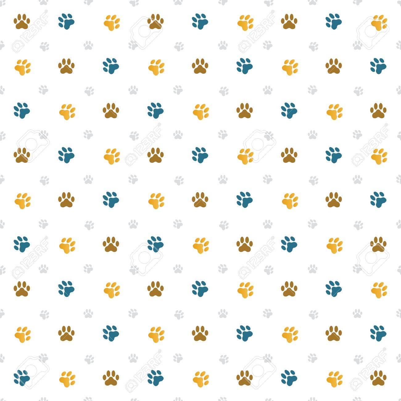 猫の足跡のシームレスな壁紙イラストのイラスト素材 ベクタ Image