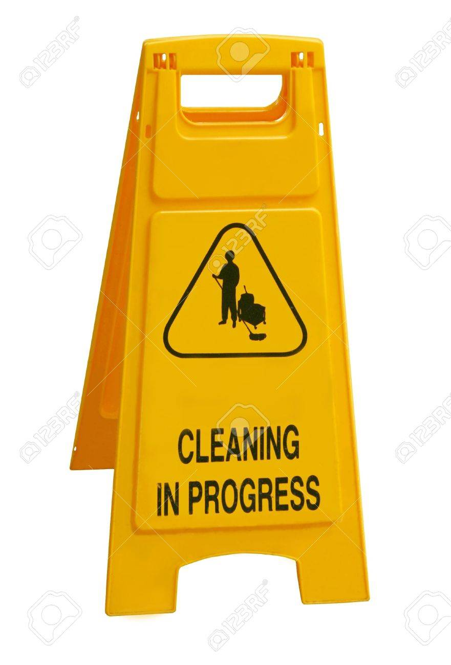 Cleaning in progress sign Stock Photo - 711712