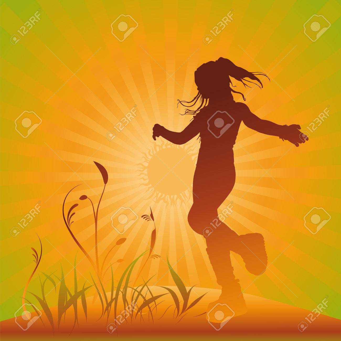 a girl dancing  in the sunset, illustration Stock Vector - 6858323