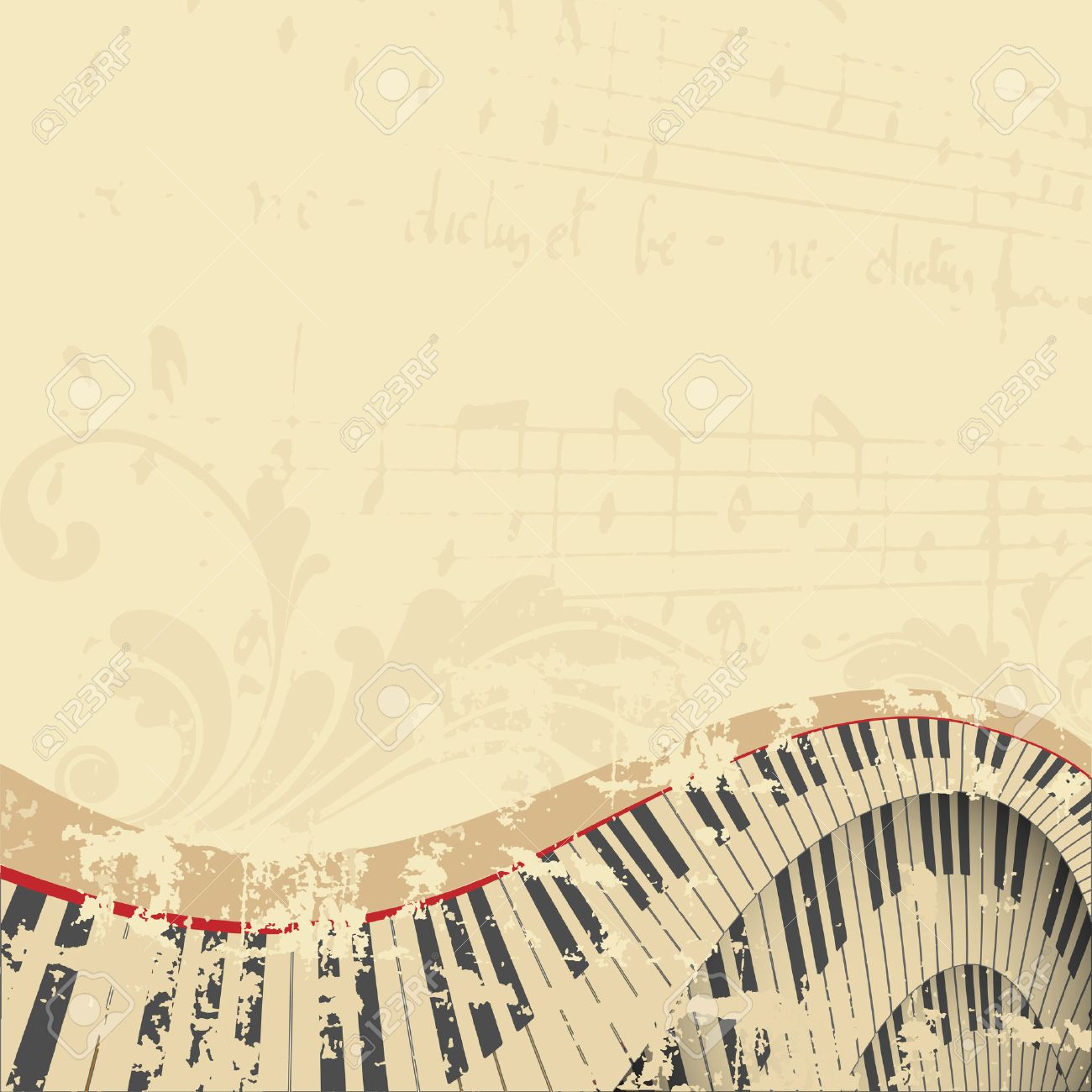 grunge musical background with piano keyboard Stock Vector - 8714421