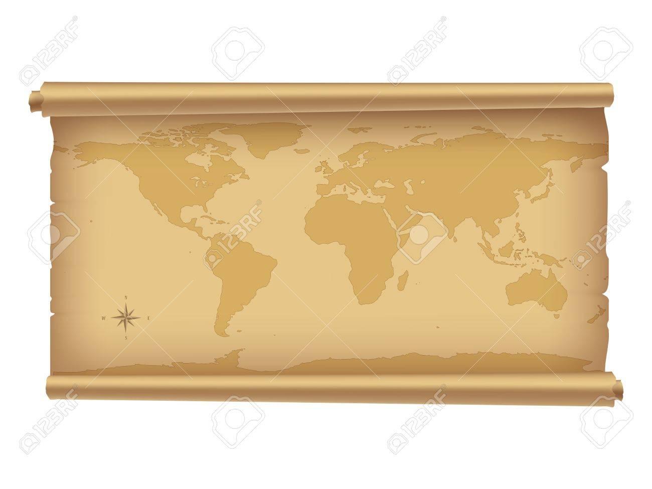 Carte Du Monde Parchemin parchemin avec la carte du monde isolée sur fond blanc. | illustration  vectorielle. | contiennent gradient mesh.