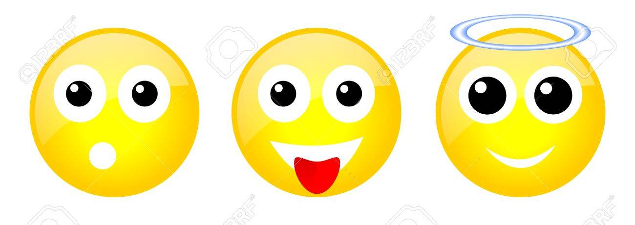 set of three yellow emoticons with face Stock Photo - 18721672