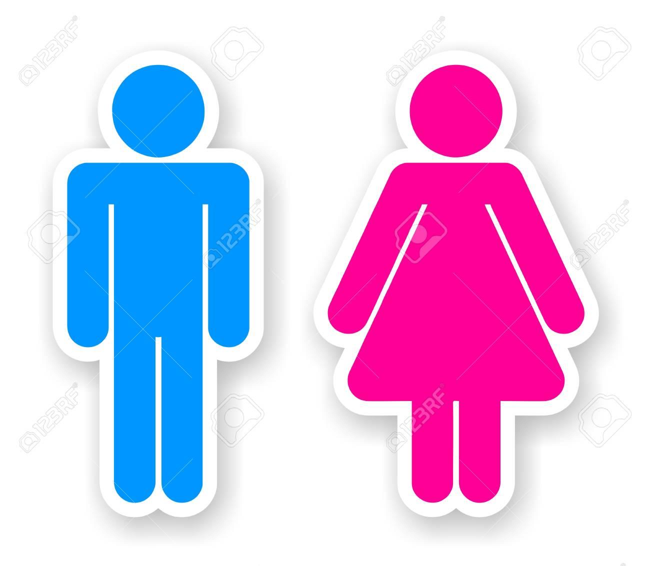 Pegatinas De Hombre Y Mujer Símbolos Aseo Fotos Retratos Imágenes