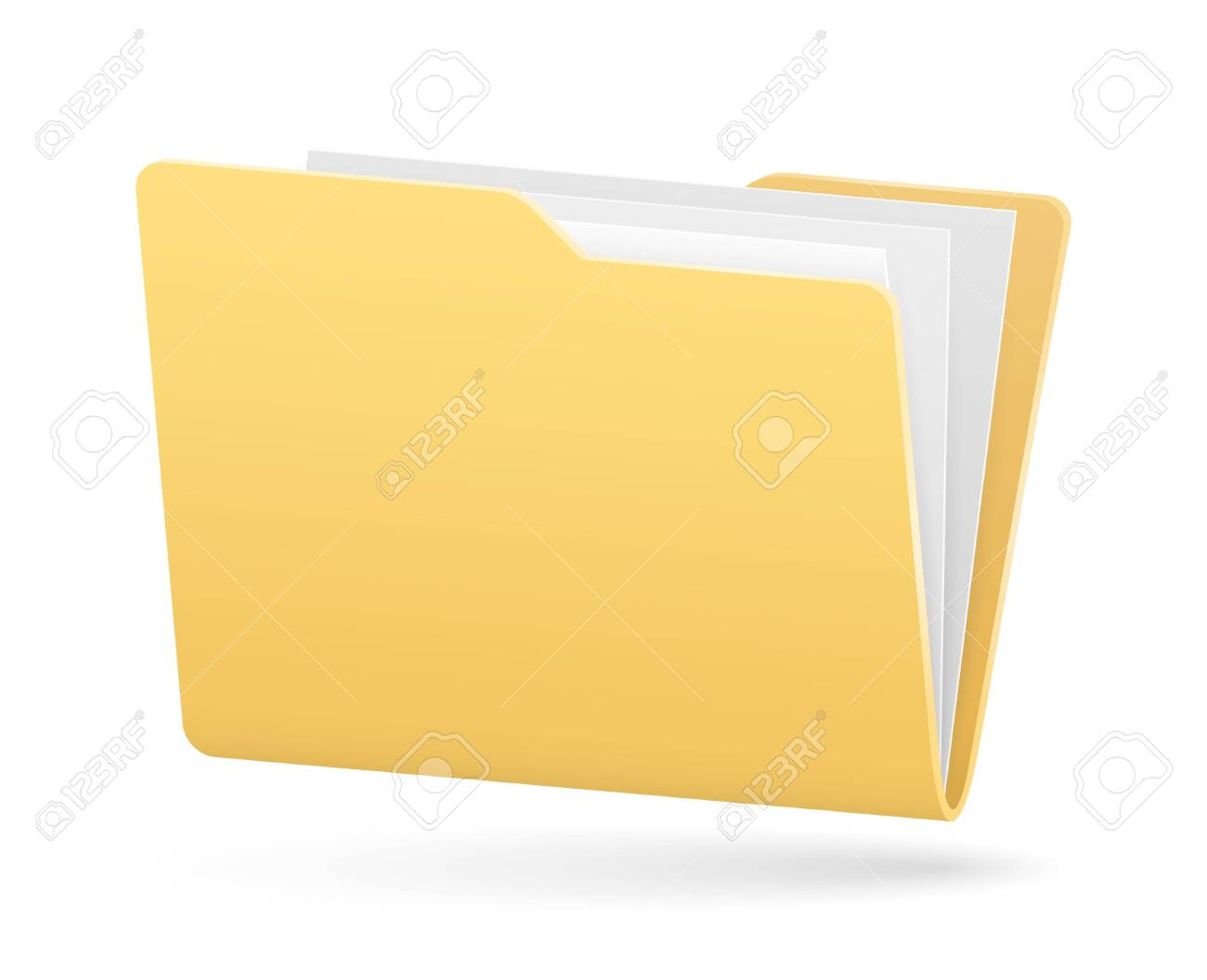 vector simple full folder of documents with light shadow - 144141044