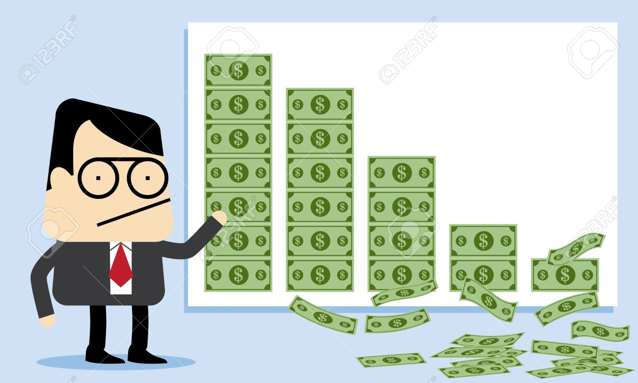 falling money and lost profit royalty free cliparts vectors and